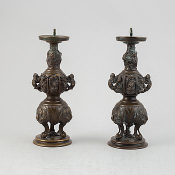 A pair of Japanese censers/candle stick holders, circa 1900.