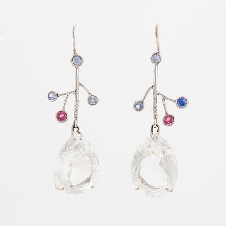 White gold, rock crystal, sapphire, tourmaline and diamond earrings.