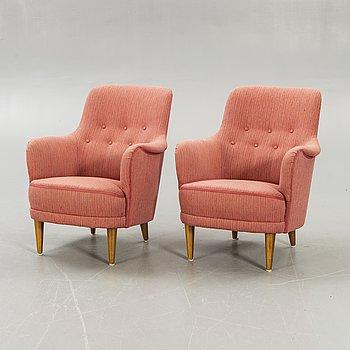 """Carl Malmsten, """"Samsas"""", a pair of armchairs."""