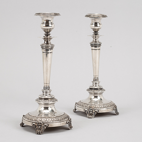 A pair of swedish silver candlesticks, mark of guldsmedsaktiebolaget gab, stockholm 1882.