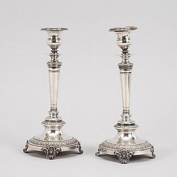 Guldsmedsaktiebolaget GAB, ljusstakar, ett par, silver, Stockholm 1882.