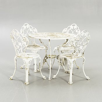Garden furniture, table, 4 chairs, second half of the 20th century.
