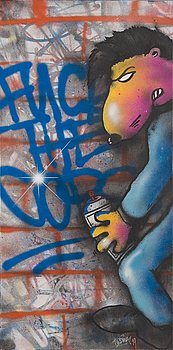 Trama, spray paint, a tergo signed and dated -19.