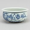 A blue and white tripod censer, qing dynasty (1664-1912).