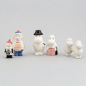 Tuulikki Pietilä, six porcelain Moomin figurines, Arabia, Finland, 1990's.