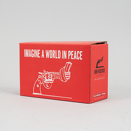 Carl-fredrik reuterswärd/ the non-violence project foundation, a polyresin sculpture 2017, certificate numbered 15/30.