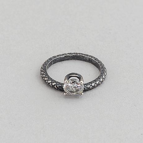 Bottega veneta, a sterling silver ring and earrings.