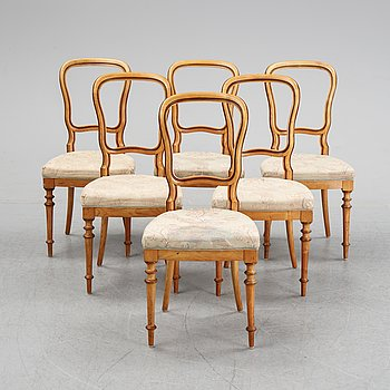 A set of six Danish Royal elm wood chairs, second half of the 19th Century.
