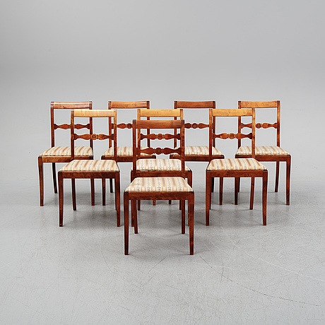 A set of eight stained birch chairs, mid 19th century.