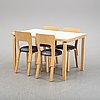 An 'aalto' table and four chairs model 66 by alvar aalto for artek, designed 1935.