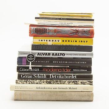 Architecture and exhibitions etc; books, cataloges and pamphlettes 19 pcs.