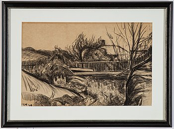 Karl Nordström, charcoal, signed and dated 1918.