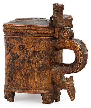 1116. A Norwegian wooden tankard, dated 1741.