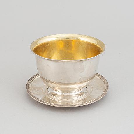A parcel gilt silver sauce bowl with dish by johan fredrik björnstedt, 1819, stockholm.
