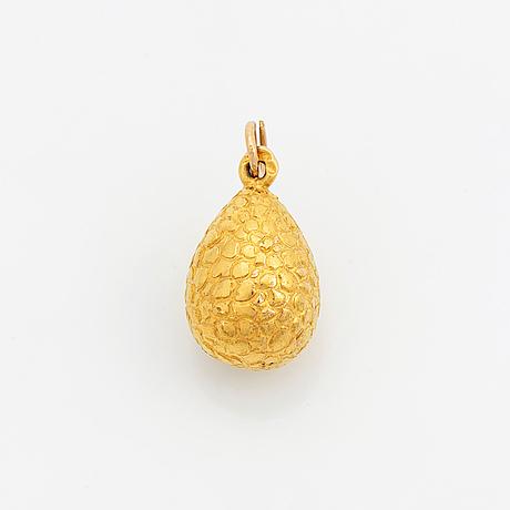 Hänge, ägg,  pärla, 14k (56) guld. ryssland, ca 1900.