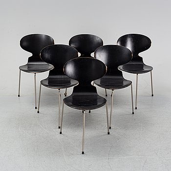 Six 'Ant chairs' by Arne Jacobsen for Fritz Hansen, designed 1952.