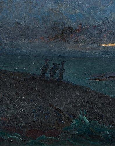 """Axel sjöberg, """"kväll vid långviksskär med skarfvar"""" (evening at långviksskär with cormorants, scene from the stockholm archipelago)."""