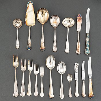 A swedish silver cutlery, 'Hallbergsmodellen Kungsholm' most with mark of CG Hallberg, Stockholm (120 pieces).