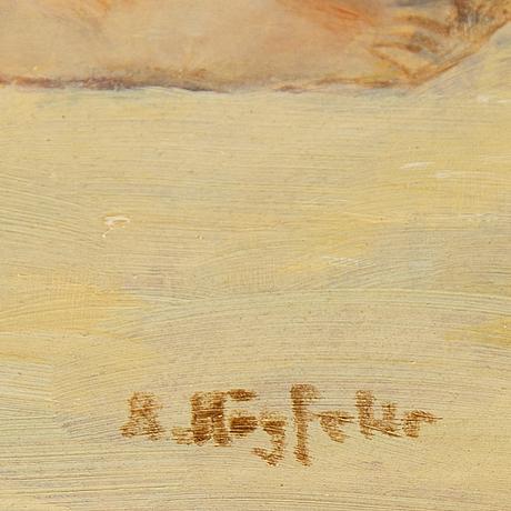 Robert högfeldt, oil on board, signed.
