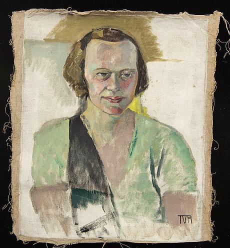 Tora vega holmström, a signed oil on canvas.