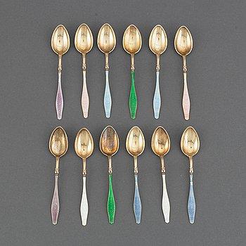 12 Norwegian silver-gilt and enamel spoons, mark of David Andersen, Oslo.