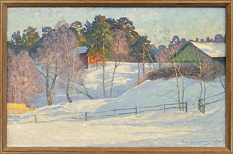 Carl johansson, olja på duk, signerad, daterad 1925.