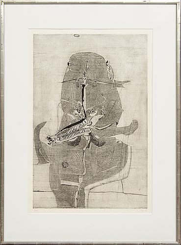 Horst janssen, a signed and dated etching, test print.