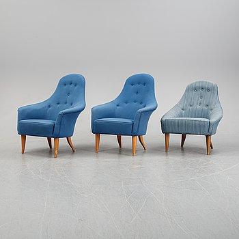 Kerstin Hörlin-Holmquist, a set of three easy chairs, 'Stora Adam' and 'Lilla Eva', Triva, Nordiska Kompaniet.