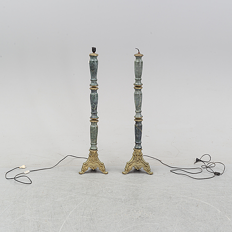 A pair of stone floor lamps, second half of the 20th century.