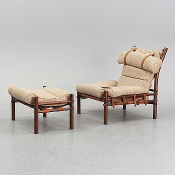 Arne Norell, an 'Inca', stained beech easy chair and ottoman. Norell möbel AB.