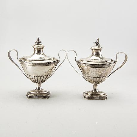 Anders johan lignell, sockerskålarett par, silver, sundsvall 1811.