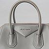 Givenchy, a grey leather 'antigona small' handbag.