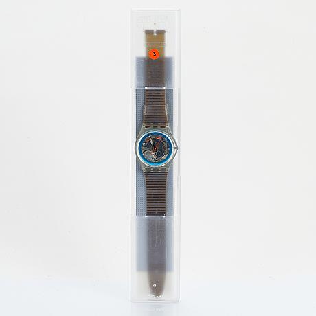 Swatch, disque bleu, wristwatch, 34 mm.