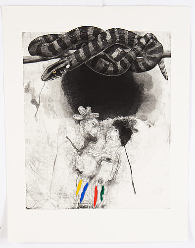 Pg thelander, etching with watercolour, 1989, signed in pencil 18/90.