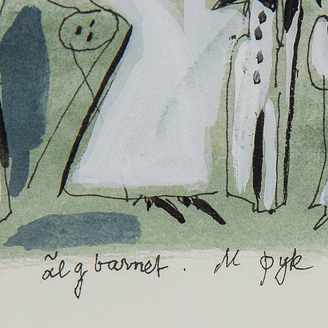 Madeleine pyk, gouache & watercolour, signed m pyk.