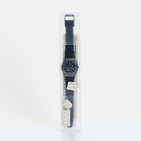 Swatch, steel feathers, wristwatch, 34 mm.