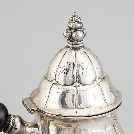 A three piece silver coffee set, mark of carl m. cohr, frederica, denmark 1927.
