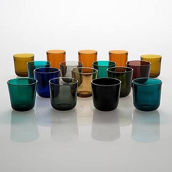 Kaj Franck, drinking glasses, 16 pcs, various colours, Notsjö, mid-20th century.