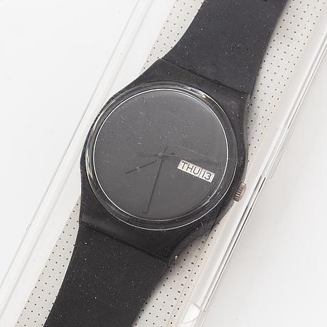 Swatch, white window, wristwatch, 34 mm.