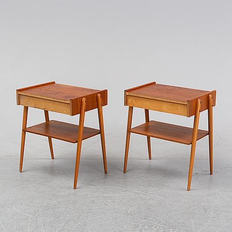 A pair of teak bedside tables, aktiebolag carlström & co, bjärum, 1950/60's.