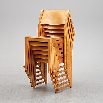 A set of six stackable chairs, mid 20th century.