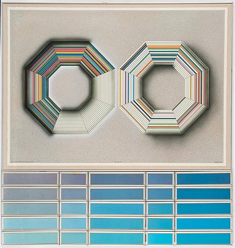 Beck & jung, triptyk, akryl och ink jet print, signerad och daterad 1984.
