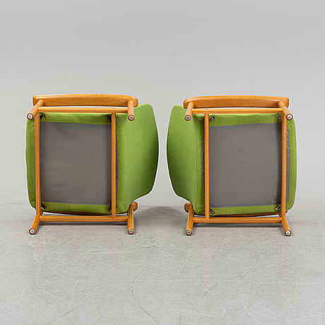 Alf svensson, a pair of oak easy chairs from ljungs industier, malmö, 1960's.