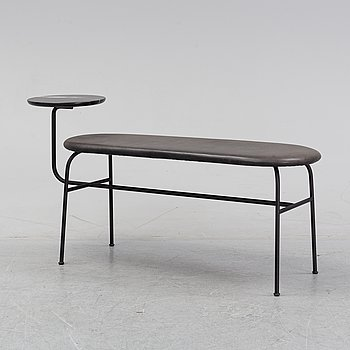 Afteroom, a steel, leather and marble 'Afteroom Menu Bench' bench for Menu.