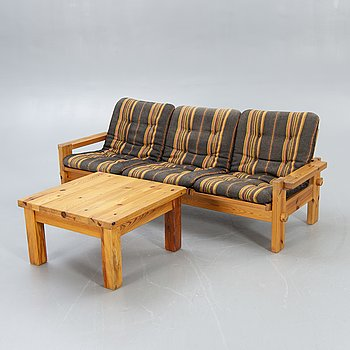 Sven Larsson, sofa table, fur, 1970s.