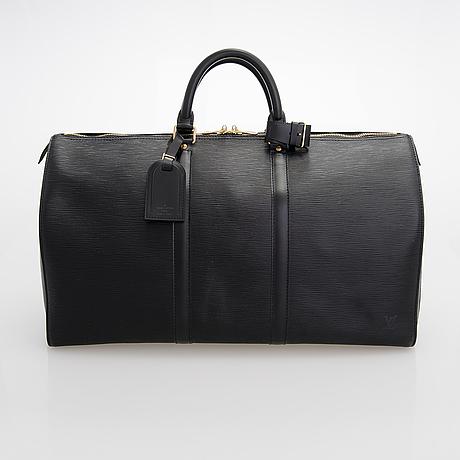 Louis vuitton, a black epi leather keepall bag.