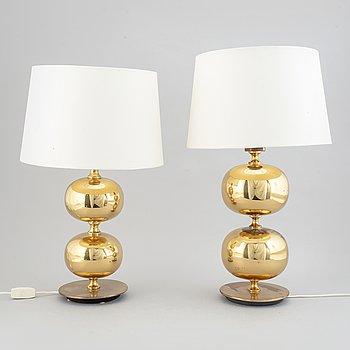 A matched pair of brass table lights, AB Stilarmatur, Tranås.