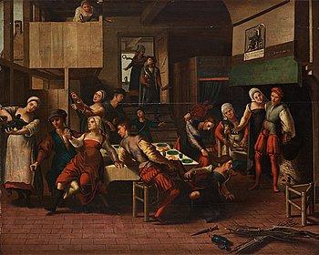 """658. Braunschweiger Monogrammist Circle of, """"Bordellszene mit Prügelei zwischen zwei Dirnen mit Blasebalg""""."""