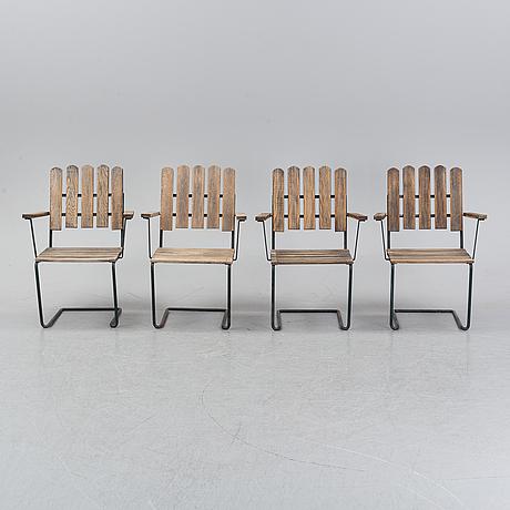 Artur lindqvist, four garden 'a2' armchairs, grythyttan, late 20th century.