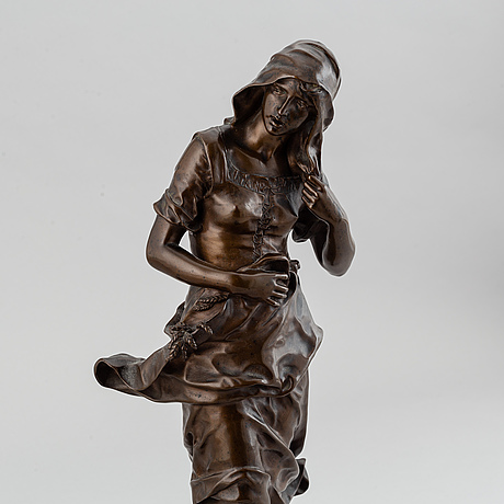 Jean gautherin, sculpture. signed. founsdry mark. bronze. height 44.5 cm.